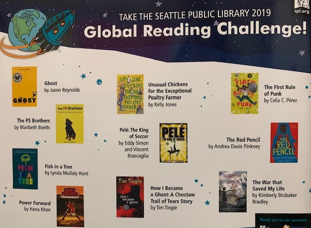 SPL Global Reading Challenge poster with book covers