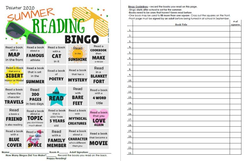Picture of summer reading bingo pdf chart and book record list